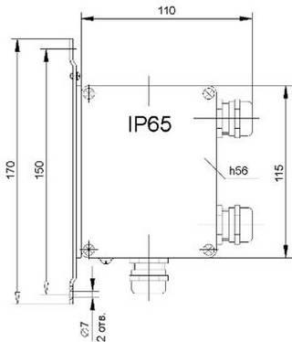 Размеры pH-4101.Д для крепления на стене