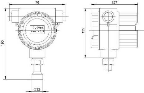 Размеры pH-метра-трансмиттера pH-4101.И. для крепления на арматуре АПН, АМН и АПТ