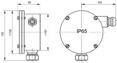 Размеры pH-4101.Н. для крепления на арматуре АПН, АМН и АПТ