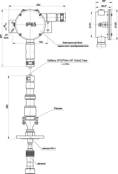 Габаритные размеры ПП рН-метра pH-4121.АС