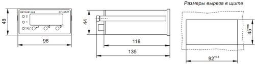 Размеры выреза в щите для pH-4121