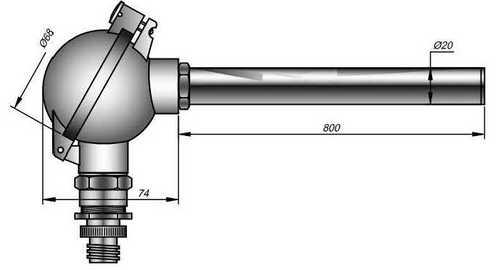 Термопара ТППТ 01.06 с клеммной головкой, без монтажных элементов