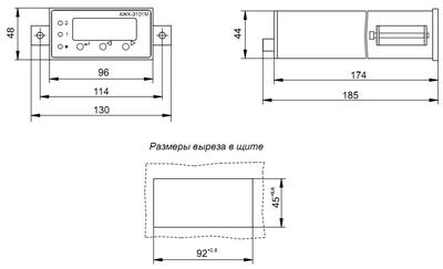 Габаритные размеры ИП анализатора АЖК-3101М.АС