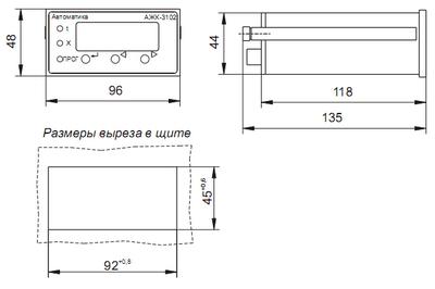 Габаритные размеры измерительного прибора кондуктометра АЖК-3102