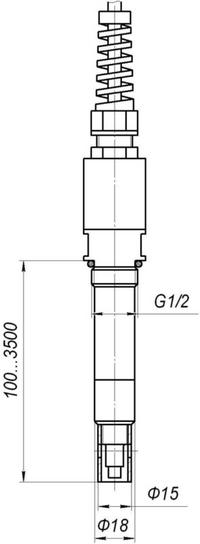 Габаритные размеры датчика погружного типа для кондуктометра АЖК-3102