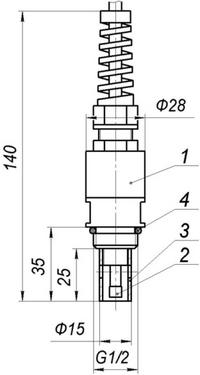 Габаритные размеры датчика проточно-погружного типа для кондуктометра АЖК-3102
