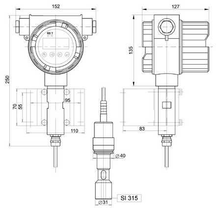 Габаритные размеры кондуктометра-трансмиттера АЖК-3130