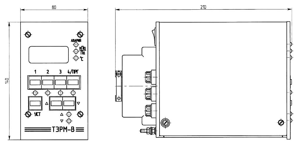 трёхканальный/четырёхкальный электронный регулятор ТЭРМ — габаритные размеры