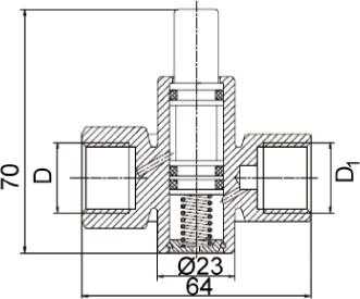 VE-PACKO кран кнопочный — габаритные размеры