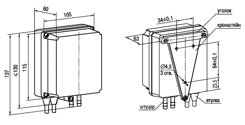 Габаритные размеры ПД150 - настенное исполнение
