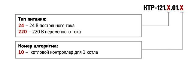 Котловой регулятор КТР-121.01. Форма заказа