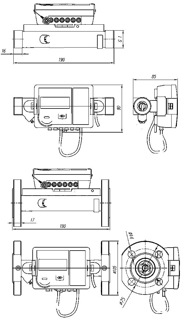 SonoSensor 30 габаритные размеры расходомера