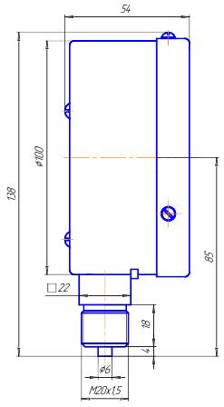 НМП-100-М1Р радиальный напоромер — габаритные размеры