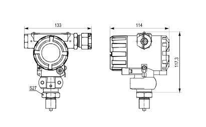 Габаритные размеры датчиков давления ПД100И-ДИ-115-2 серии ПД100И-ДИ-1х5-2