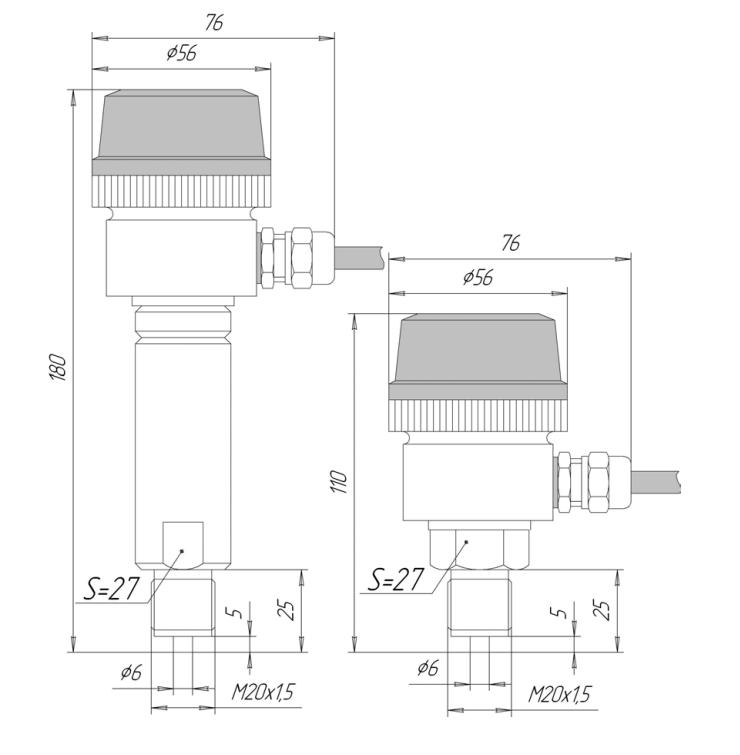 Габаритные размеры ЗОНД-10-АД-1110