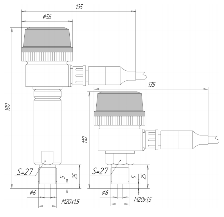Габаритные размеры ЗОНД-10-АД-1120