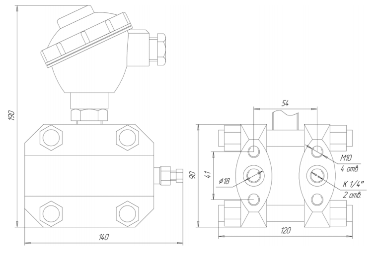 Габаритные размеры ЗОНД-10-ДД-1161