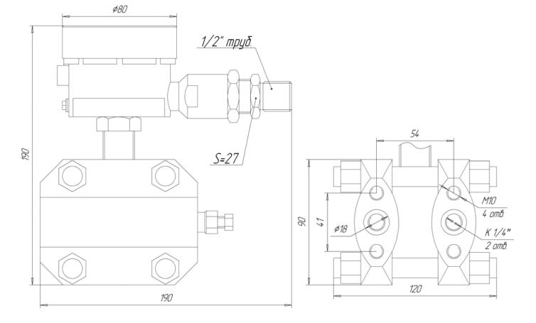 Габаритные размеры ЗОНД-10-ДД-1167