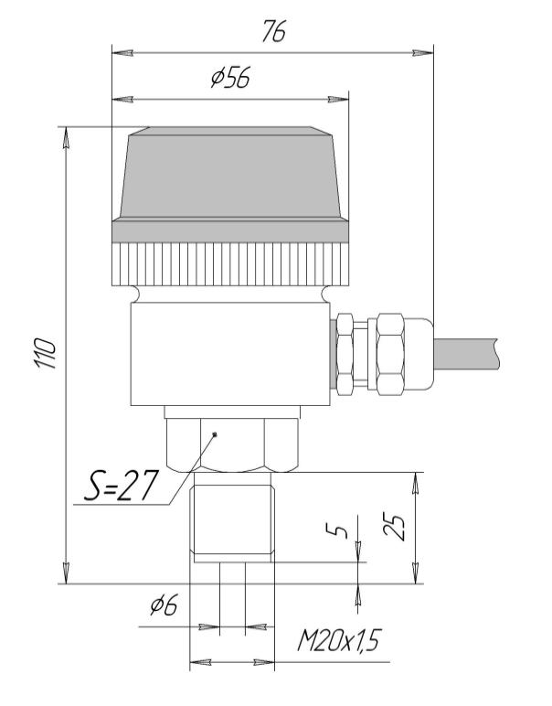 Габаритные размеры ЗОНД-10-ИД-1010