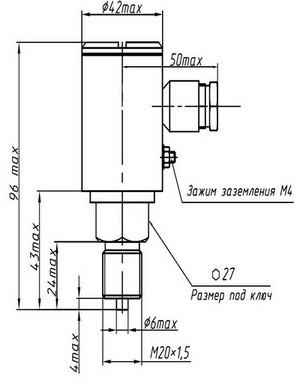 Габаритные размеры преобразователей ДМ5007АЕх