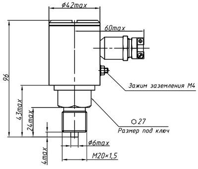 Габаритные размеры преобразователей ДМ5007Ех