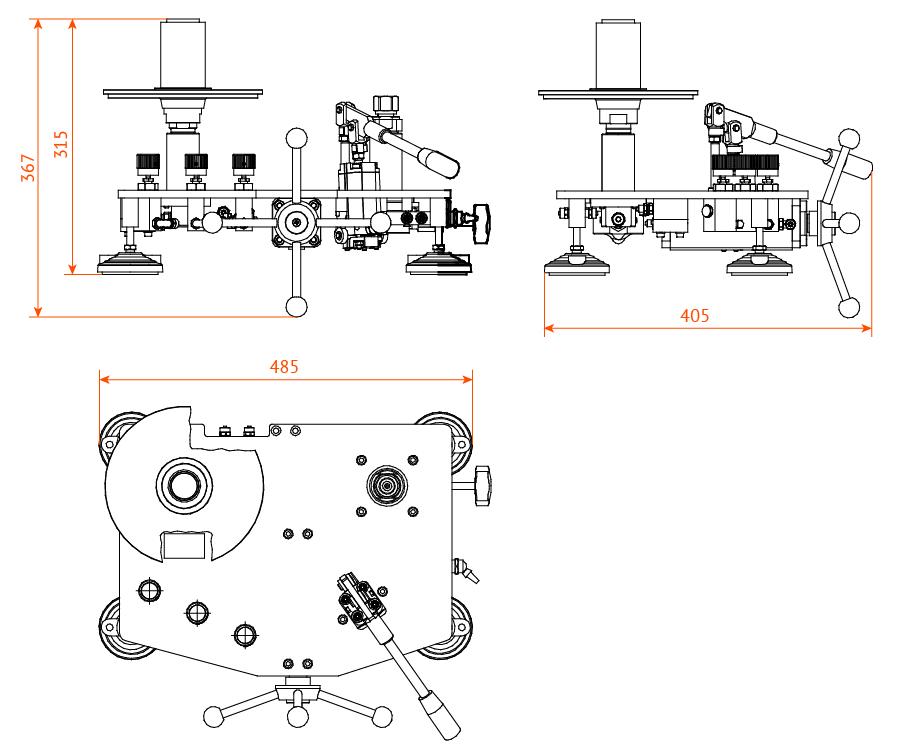 Манометр газовый грузопоршневой МГП-0,2...МГП-10 габаритные размеры
