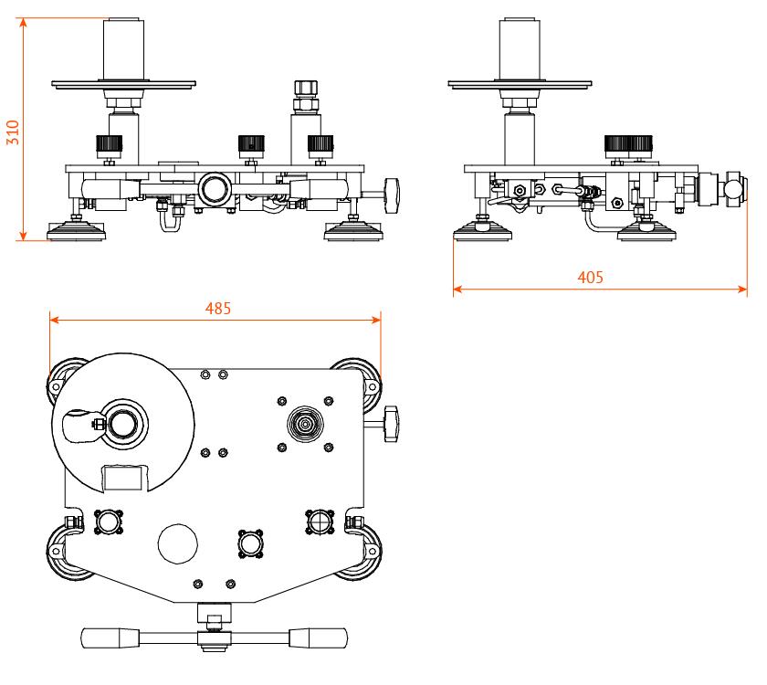 Манометры газовые грузопоршневые МГП-25...МГП-160 габаритные размеры