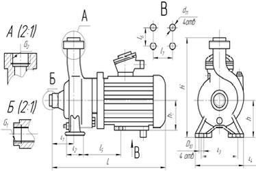 Габаритные размеры насоса КМ 65-40-140Е