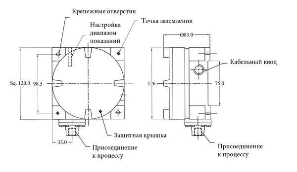 Габаритные размеры реле давления РД-3-Exd-P/C/W