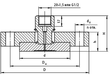 Габариты. Разделитель РСМ-306-Dу50/Dy80 с открытой мембранной