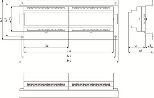 Габаритные размеры измерительного блока и выходов регистратора Термодат-29М6