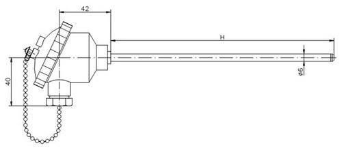 Термометр сопротивления ТС718-d6-H (ТСП-718), размеры