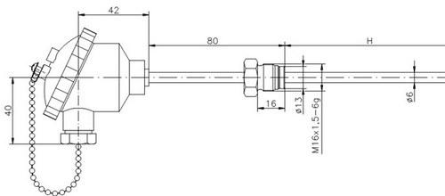 Термометр сопротивления ТС719-d6-h (ТСП-719), размеры