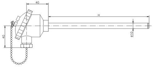 Термометр сопротивления ТС728-d10-h (ТСП-728), размеры