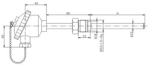 Термометр сопротивления ТС729-d10-h (ТСП-729), размеры