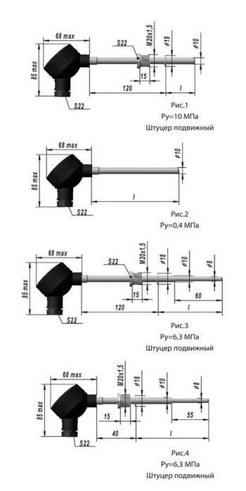 Термопреобразователи сопротивления ТСМ-, ТСП-9201, рис. 1,2,3,4