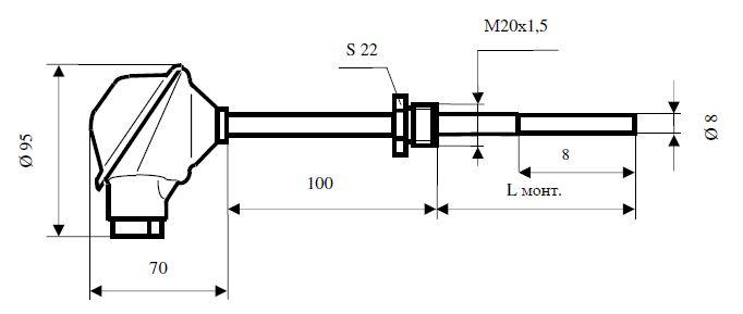 Габаритные размеры термопреобразователей сопротивления ТСМУ-0618-10-2