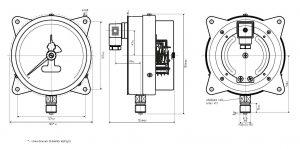 Габаритные размеры-2 манометра ДМ2005ф (исполнение с фланцем)