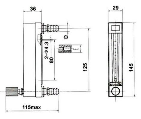 Габаритные размеры ротаметра LZB-DK800