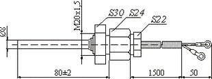 Габаритные размеры первичного преобразователя температуры ПП-3