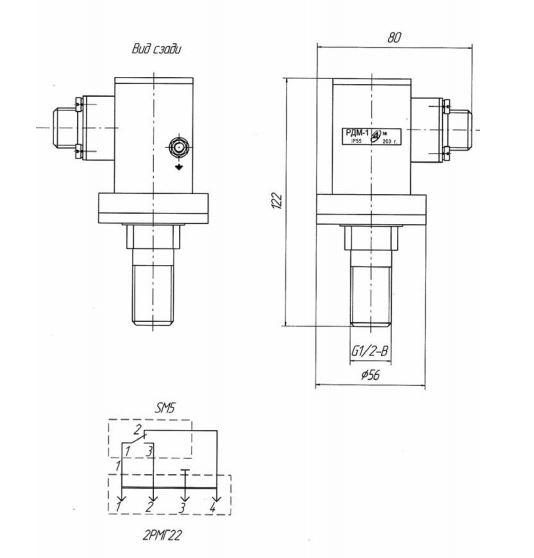 Габаритные размеры реле давления РДМ-1