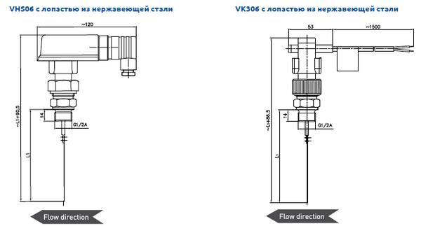 Габаритные размеры-2 реле потока VHS06, VK306 (c лопастью из нержавеющей стали)
