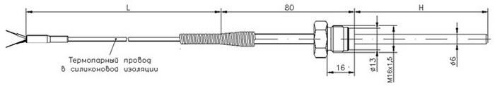 Габаритные размеры термопары ТД713