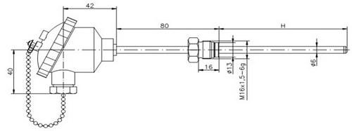 Габаритные размеры термопары ТД719
