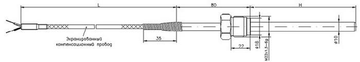 Габаритные размеры термопары ТД726