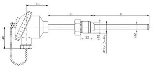 Габаритные размеры термопары ТД729