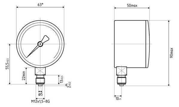 Габаритные размеры напоромеров НМПф-63-РШ, тягонапоромеров ТНМПф-63-РШ с радиальным штуцером