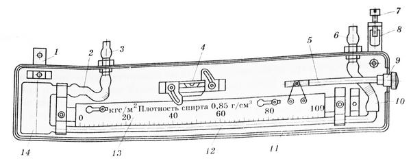Схема тягонапоромера ТНЖ-Н