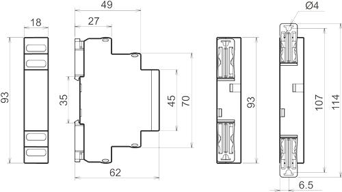 Габаритные размеры реле ТР-М01-1-15