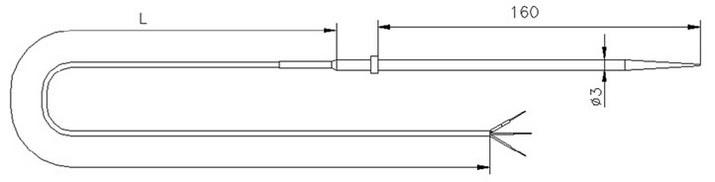 Габаритные размеры термометра сопротивления ТС731 для пищевых продуктов